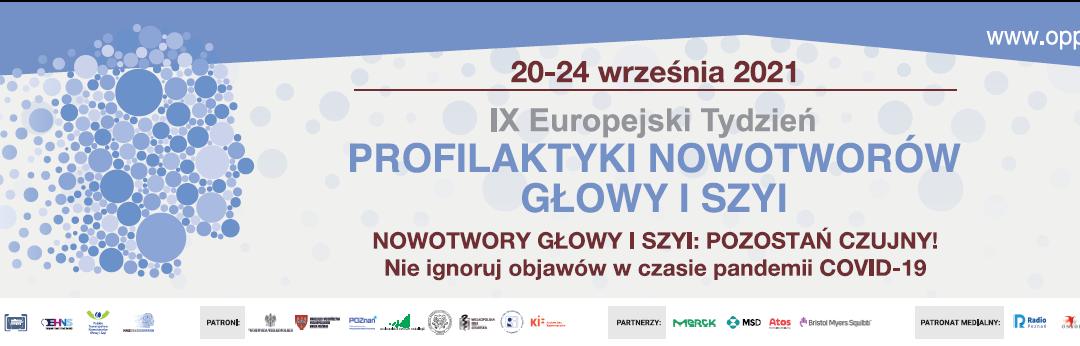 Patronaty honorowe IX Europejskiego Tygodnia Profilaktyki Nowotworów Głowy i Szyi